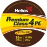 Шнур Helios плетеный 4-х жильный PREMIUM CLASS 4 PE BRAID Fluorescent Yellow 0,15/0,18/0,20/0,23mm - 92/135метров