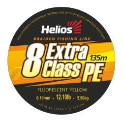 Шнур плетеный 8-ми жильный Helios EXTRA CLASS 8 PE BRAID Fluorescent Yellow 0,10/0,12/0,20/0,23mm/135метров